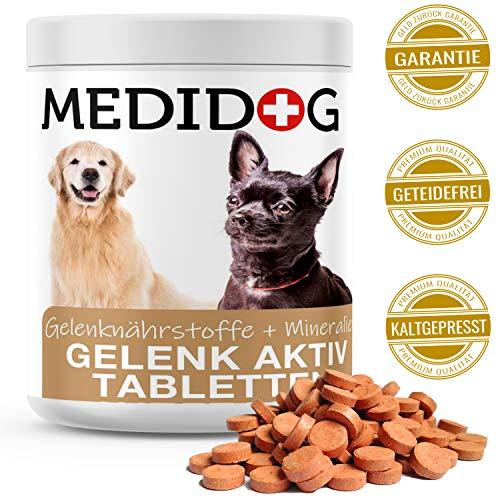 Medidog Gelenk Aktiv Gelenktabletten für Hunde mehr Bewegungsfreude und Mobilität, Grünlippmuschelextrakt, Teufelskralle, Glucosamin, Chondriotin, MSM, Kurkuma, Gelenkpulver für Hunde