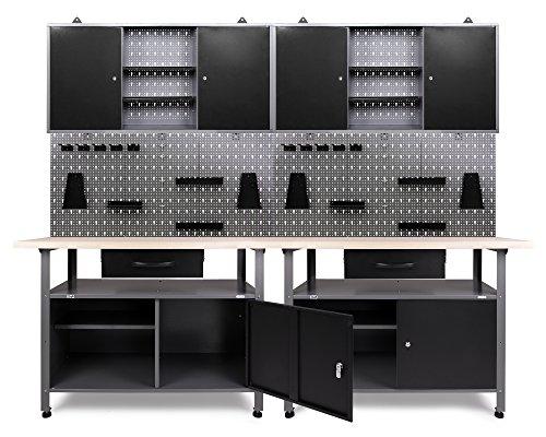 Ondis24 Werkstatteinrichung grau Werkbank TÜV/GS, 2 x Werkzeugschrank TÜV/GS abschließbar Lochwand mit 22 Haken 240 x 60 x 202 (H) cm