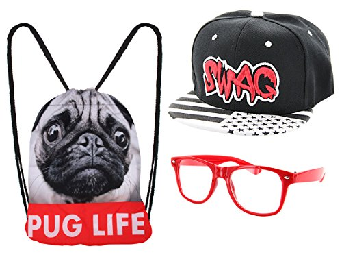 ALSINO Hipster Outfit 'Pug Life' mit Snapback Cap Nerd Brille und Turnbeutel Hip (Outfits Nerds)
