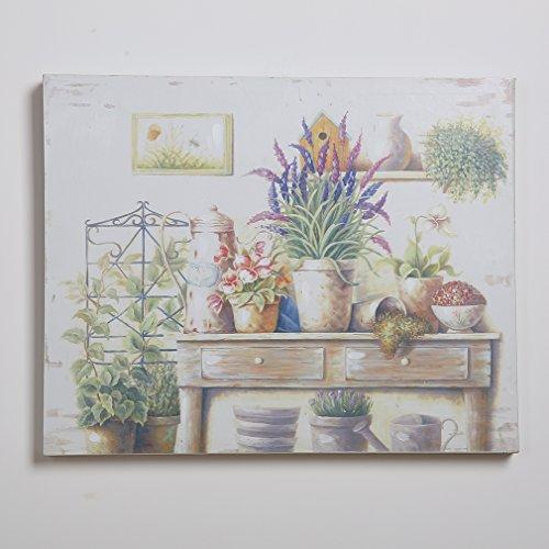 Cornice interna vaso di fiori colorati vintage French Style Wall Art decorazione 100% dipinto a mano dipinti a olio su tela 40,6x 50,8cm, Tela, Multi2, 20 X 16 inch with inner Framed