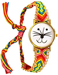 VITREND ™ Yokai Printed- Rose Gold Dial-Woollen Band Fashion Ana Long Watch for Women (Colours Very May)