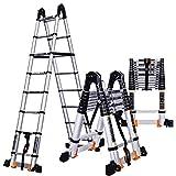 ZR- Scala Retrattile 2.3-5.5M Telescopica/Scala Dritta/Scala Pieghevole Meccanica/Per La Famiglia Attica Lega Di Alluminio -Facile da riporre e facile da trasportare