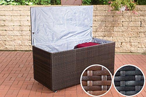 CLP Poly-Rattan Auflagenbox KUDDE, Rattan-Box für Kissen & Auflagen, bis zu 2 Farben + 2 Größen wählbar 150 x 70 cm, Höhe 75 cm, braun-meliert