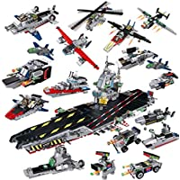 ZMH Boy Toy Montado Portaaviones Ocho En Un Bloque De Construcción Militar