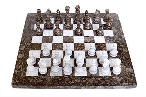 RADICALn Handmade Game Grey Oceanic and White Marble Chess Game
