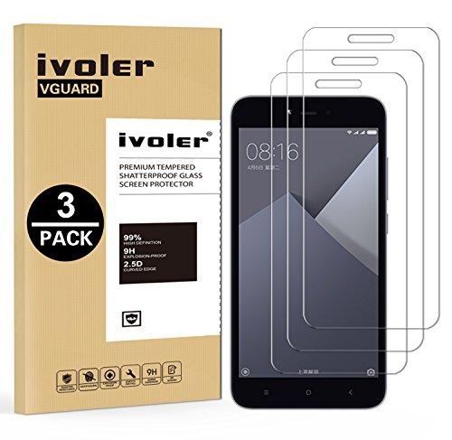 iVoler [3 Stücke] Panzerglas Schutzfolie für Xiaomi Redmi Note 5A / Xiaomi Redmi Note 5A Prime, 9H Härte, Anti- Kratzer, Bläschenfrei, [2.5D R&e Kante]