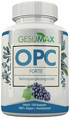 Hochdosiertes Premium OPC Forte 700mg, 120 Stück, 350mg/Kapsel I Gesumax I Vegan, Laktosefrei, Glutenfrei, Zuckerfrei, Ohne Magnesiumstearat.