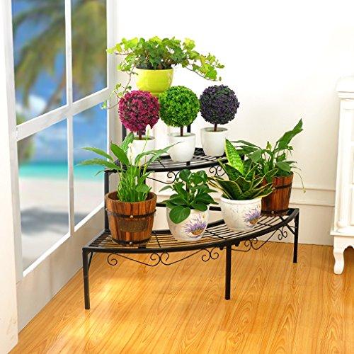 $Etagère d'exposition Porte-grille en fer, étagère à 3 étages Présentoir Bonsai Maison Jardin Décor de patio étagères noir / or / blanc ( Couleur : Noir , taille : 84*60*60CM )