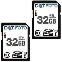 2 x Dot.Foto - 32 Go Carte mémoire SDHC Classe 10 UHS-1 - 60Mo/sec pour Panasonic Lumix DMC-TZ2, DMC-TZ3, DMC-TZ4, DMC-TZ5, DMC-TZ6, DMC-TZ7, DMC-TZ8, DMC-TZ9, DMC-TZ10, DMC-TZ11, DMC-TZ15, DMC-TZ18, DMC-TZ19, DMC-TZ20, DMC-TZ22, DMC-TZ25, DMC-TZ27, DMC-TZ30, DMC-TZ35, DMC-TZ37, DMC-TZ40, DMC-TZ41, DMC-TZ50, DMC-TZ55, DMC-TZ56, DMC-TZ57, DMC-TZ58, DMC-TZ60, DMC-TZ61, DMC-TZ65, DMC-TZ70, DMC-TZ71
