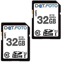 Dot.Foto Scheda di Memoria Alta velocità SDHC da 32 GB, fino a 60 MB/sec, Classe 10 UHS-1 (2 Pezzi) per Fujifilm FinePix AX200, AX205, AX210, AX230, AX240, AX245W, AX250, AX260, AX280, AX290, AX300, AX305, AX330, AX335, AX350, AX355, AX380, AX385, AX500, AX510, AX550, AX560, X600, AX615, AX620, AX645, AX650, AX655, AX660, AX675, AX680, AX695 / C10, C20