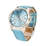 Damen Armbanduhr Einfach Stil Analoge Quary Uhr mit Batterie Frauen Genf römischen Ziffern Kunstleder analoge Quarzuhr (blau)