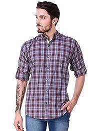 Lafantar Men's Mandarin Collar Casual Check Shirt (vxt29,Brown)