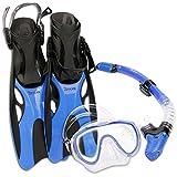 OXA Scuba Tauch Schnorchel Set mit Trockenschnorchel und Maske mit Glasfenster sowie Schwimmflossen (Blau, L/XL (42-47) )