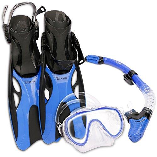 OXA Scuba Tauch Schnorchel Set mit Trockenschnorchel und Maske mit Glasfenster sowie Schwimmflossen (Blau, L/XL (42-47) ) (Dunklen T-shirt Bücher)