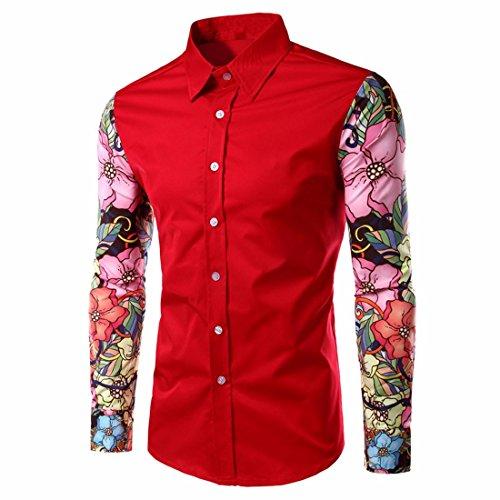 QIYUN.Z Mode Mens Robe Chemises A Manches Longues Occasionnels Amincissent D'Impression Coloree