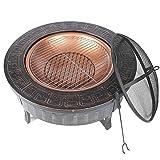 DOPORA Braciere Esterno,Braciere per Giardino,Removibili in Metallo,Multifunzione Fire Pit per Riscaldamento/BBQ con Forca per Fuoco, Terrazza, Multifunzione Fire Pit per Riscaldamento/BBQ,32 Pollici