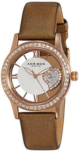 Akribos Xxiv donna AK811BR movimento al quarzo Orologio con quadrante in oro rosa e cuore see thru con un cinturino in raso marrone