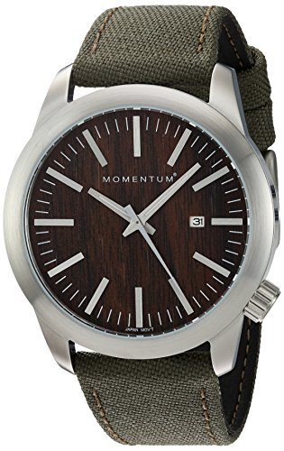Momentum Men's Quartz Stainless Steel and Canvas Dress Watch, Color:Green (Model: 1M-SP10C6G)