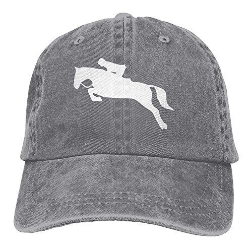 Hoswee Unisex Kappe/Baseballkappe, Horseback Riding Horse Clipart-1 Vintage Jeans Baseball Cap Classic Cotton Dad Hat Adjustable Plain Cap