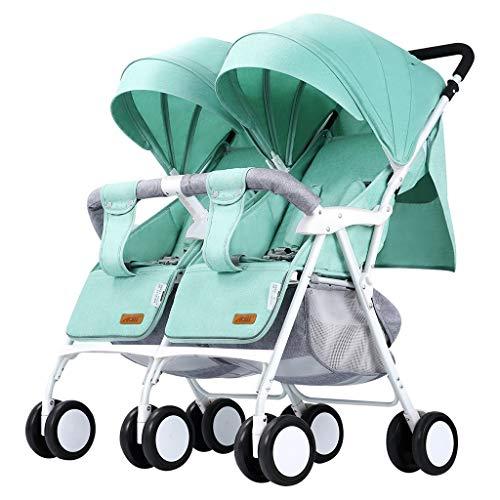LYXPUZI Zwillingskinderwagen - leichtes faltendes Doppelauto kann liegend sitzen - Drachen- und Phönixkinderwagen (Farbe : Green)