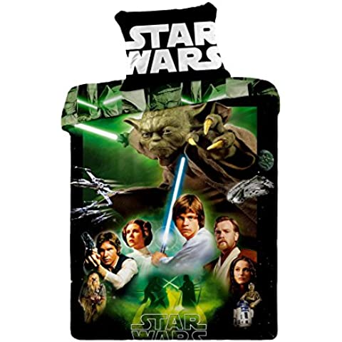 Jerry fabrics JF0128 juego de Star Wars, 1 x funda de edredón de/funda de almohada, 100 por ciento de algodón, 140 x 200 y 70 x 90 cm, colour