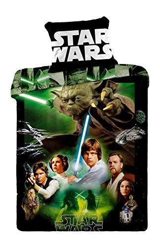 Jerry Fabrics JF0128 set biancheria letto Star Wars, 1 x coperta/federa, 100 per cento cotone, 140 x 200 e 70 x 90 cm, verde