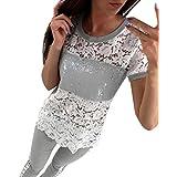 VENMO Womens Short Sleeves Lace Tops Damen beiläufiges T-Shirt T-Stück Bluse
