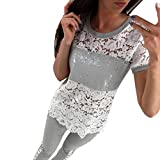 VENMO Womens Short Sleeves Lace Tops Damen beiläufiges T-Shirt T-Stück Bluse (L, White)
