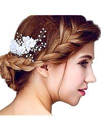 Tulle fiore silver-tone perline perle finte nuziale pettini da sposa  accessori per capelli d978aeb3d0de