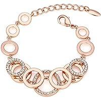 Kemstone Rose Gold Plated Rhinestone Flower Rose Link Bracelet, 8.7