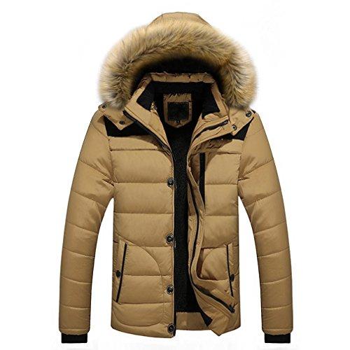 Herren Warme Dick mit Kapuze ManteljackeCoat JacketWintermantel Kapuzenjacke Outdoorjacke Winterjacke Warm Mantel (L, Khaki) (Klassische Gefütterte Mantel)