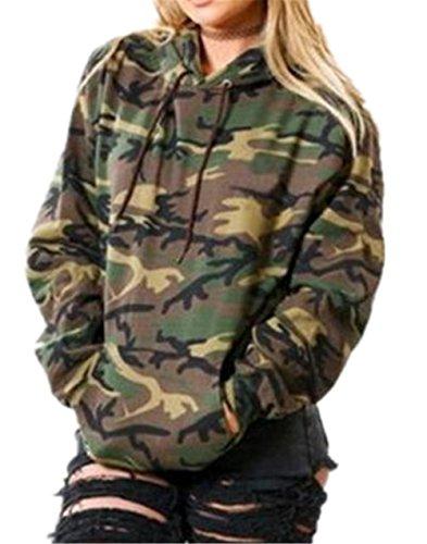 Kerlana Damen Tops Drucken Sweatshirt Camouflage Militär Kapuzenpullover Bluse Lange Hülse mit Kapuze Pullover Bluse Streetwear Übergangs Jacke Parka Camouflage Pullover Kapuze