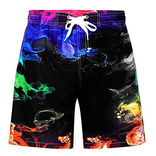 Funnycokid Jungen Shorts Jungen Schnell trocknend Sommer Bunter Rauch Swim Badeshorts Surfen Sweatpants Kinder Strand Wear -