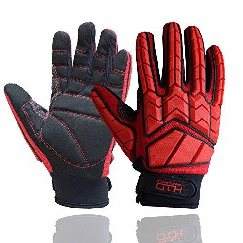Anti-Vibrations-Handschuhe, SBR-Polsterung, TPR-Schutzhandschuhe, stoßfest, Arbeitshandschuhe für Mechaniker, Herren-Handschuhe, rot