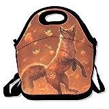 Qian Mu888 Reusable Picnic Lunch Bags Lunch Tote Jumping Fox Lunch Box for Men Women Adults Kids Toddler Nurses