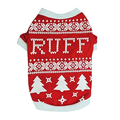 Puppy Dog Clothes, FEITONG Christmas Dog Puppy Dog Christmas Tree Interlock Shirt Apparel Warm Clothes