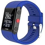 Correa para reloj pulsera Cooljun, para reloj Polar V800, repuesto moderno, de caucho y silicona, azul