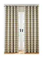 """Woven Check Green Grey Beige Lined 66"""" X 72"""" - 168CM X 183CM Ring TOP CURTAINS by Curtains"""