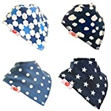 Bandana Dribble Bibs, Super Absorbent For Teething Baby Boys,4 Pack (Just Blues)