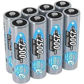 ANSMANN Akku AA Mignon 2500mAh 1,2V NiMH 8 Stück für Geräte mit hohem Stromverbrauch - Wiederaufladbare Batterien maxE - Akkus für Spielzeug, Wii & Xbox Controller uvm - Rechargeable Battery