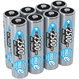 ANSMANN MaxE Rechargeable AA Batteries 2500mAh Low Self Discharge (LSD) NiMH AA Battery Pre-charged For Remote, Controller, Flashlight Etc. (8-Pack)