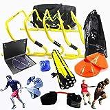 Kit de entrenamiento de velocidad y agilidad para equipo de fútbol, con DVD de instrucciones en inglés, bolsa de transporte gratuita, obstáculos, escalera de velocidad, fútbol, fútbol americano, baloncesto, voleibol, rugby, hockey