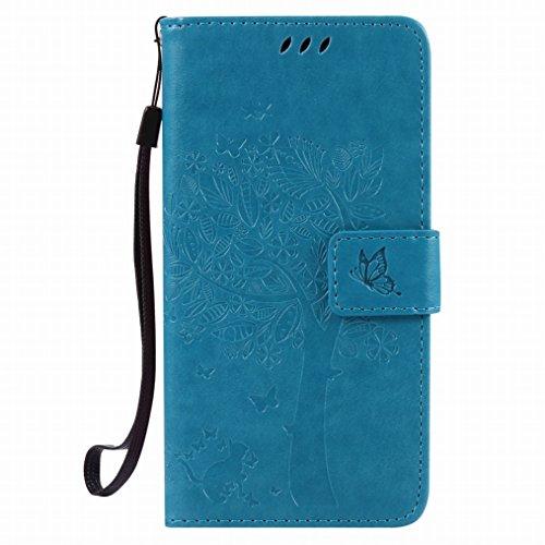 LEMORRY Hülle für Sony Xperia X Performance Hülle Tasche Geprägter Ledertasche Beutel Schutz Schließung SchutzHülle Weich Silikon Cover Schale für Sony X Performance, Glücklicher Baum Blau
