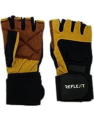 reflext-Gants Mitaines en cuir avec sangle pour haltérophilie/Aviron/Cyclisme/Musculation Moutarde grand