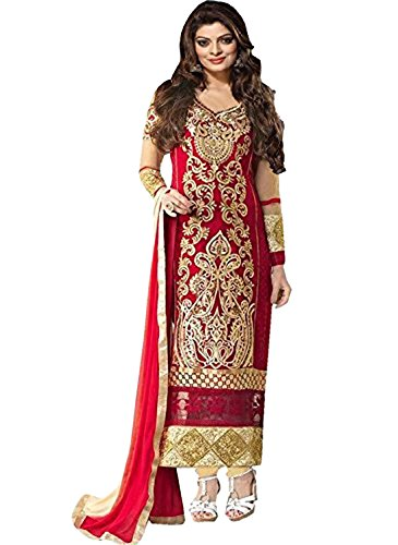 Clickedia Women's Heavy Georgette Semi-stitched Beige Red Embroidered Floor Length Anarkali Suit - Dress Material  available at amazon for Rs.399