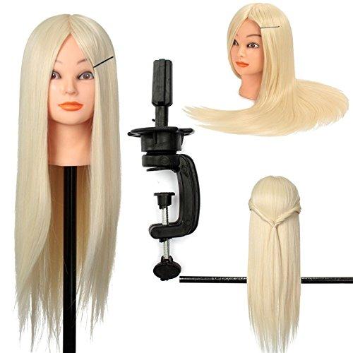 30% De Vrais Cheveux, Naturels Coiffure, LuckyFine, Professionnel 24'' Super Long Mannequin Tête d'exercice, Tête à coiffer + Support Couleur blanche