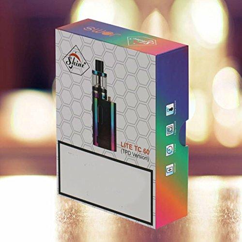 SHINE® Electronic Cigarette Lite 60 TC E-Cig 60w Mod 1600mAh Vaporizer Tank USB Battery VAPE Pen KIT E-Shisha Hookah with Temperature Control *No Nicotine* (RAINBOW) TPD COMPLIANT