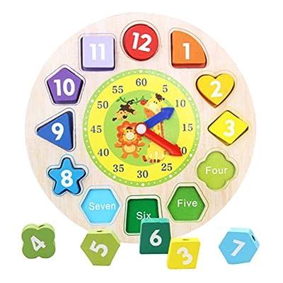 Reloj de aprendizaje de madera Tablero de aprendizaje colorido con reloj Juguetes para niños Reloj de aprendizaje Juguetes Montessori Aprendizaje educativo Juguetes para niños a partir de 3 años por Koyowa