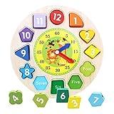 Mimiga Orologio Giocattolo in Legno Tavolo da Gioco colorato con Orologio Orologio da apprendimento per Bambini Giocattolo Montessori Giocattolo educativo per Bambini da 3 Anni