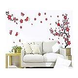 Stickers / Tatouages / Decals / Autocollants Muraux Stylés Vinyle Haute Qualité Adhésifs Détachables Murs de la Chambre Avec Designs Arbres / Branches Cerisiers Japonais en Fleur Rouges & Papillons Par VAGA